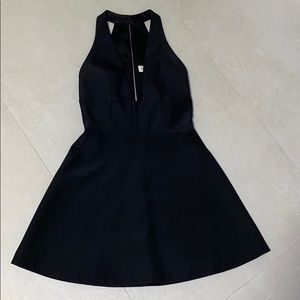 Black low cut flare mini dress